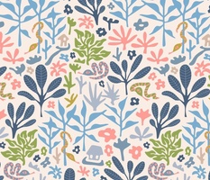 Hidden Snakes in the Tropics in Pink Blue Green and Gray - UnBlink Studio by Jackie Tahara