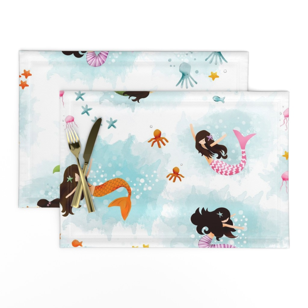 Lamona Cloth Placemats featuring Playing with Bubbles by natitys