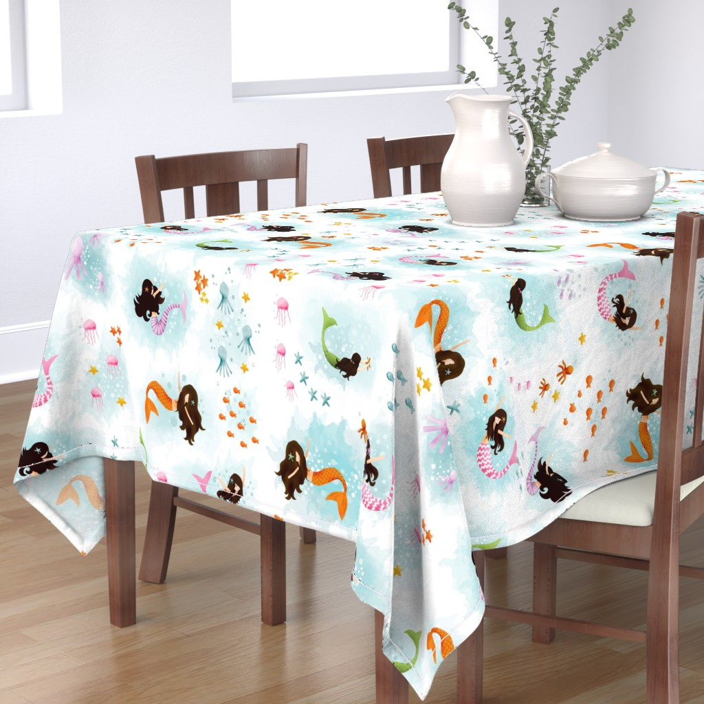 Bantam Rectangular Tablecloth featuring Playing with Bubbles by natitys