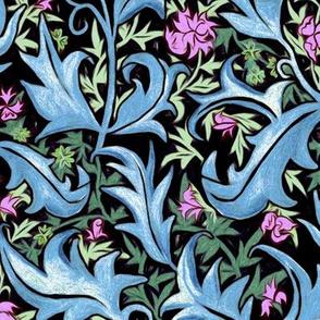 Hand Painted Wax Art Nouveau Vines - Lilac &  Emerald
