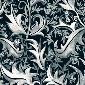 Hand Painted Wax Art Nouveau Vines - Grey