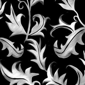Hand Painted Art Nouveau Vines - Moody Velvet