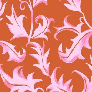 Hand Painted Art Nouveau Vines - Velvet Pink