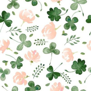 Watercolor Clover Leaves & Peach Florals