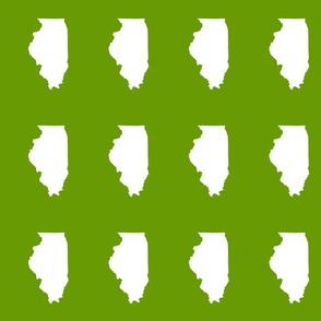"Illinois silhouette in 4.5 x 6"" block, white on leaf green"