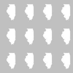 "Illinois silhouette in 4.5 x 6"" block, white on silver grey"