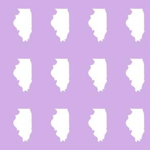 "Illinois silhouette in 4.5 x 6"" block, white on lilac"