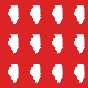 """Illinois silhouette in 4.5 x 6"""" block, white on red"""