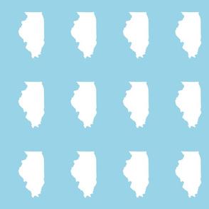 "Illinois silhouette in 4.5 x 6"" block, white on light blue"