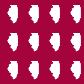 """Illinois silhouette in 4.5 x 6"""" block, white on cranberry red"""