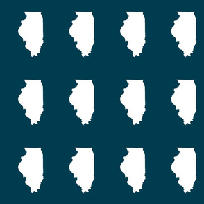 "Illinois silhouette in 4.5 x 6"" block, white on navy blue"