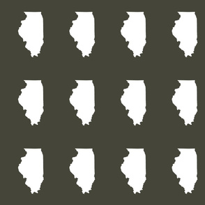 "Illinois silhouette in 4.5 x 6"" block, white on khakiillinois 0263k"