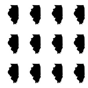 "Illinois silhouette in 4.5 x 6"" block, black and white"