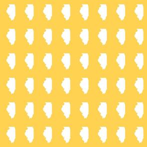 """Illinois silhouette in 2 x 3"""" block, white on"""