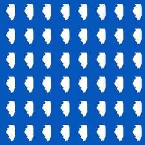 "Illinois silhouette in 2 x 3"" block, white on true blue"