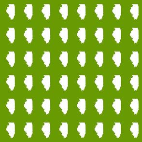 "Illinois silhouette in 2 x 3"" block, white on leaf green"