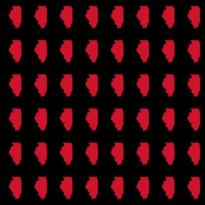 """Illinois silhouette in 2 x 3"""" block, sports red on black"""