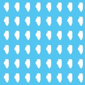 "Illinois silhouette in 2 x 3"" block, white on bright sky blue"