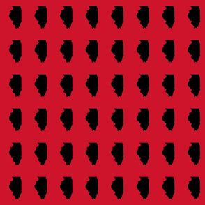 """Illinois silhouette in 2 x 3"""" block, sports black on red"""