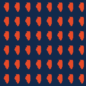 "Illinois silhouette in 2 x 3"" block, sports orange on navy blue"