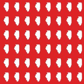 """Illinois silhouette in 2 x 3"""" block, white on red"""