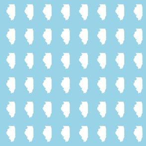 "Illinois silhouette in 2 x 3"" block, white on light blue"