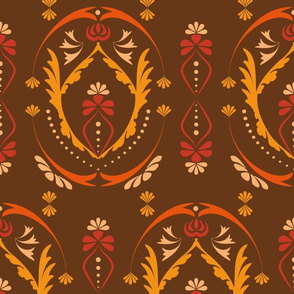 Damask Folklore Pattern in seventies colors