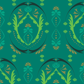 Modern Damask  in green and teal