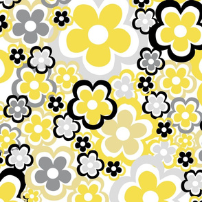 Retroflowers in yellow and gray