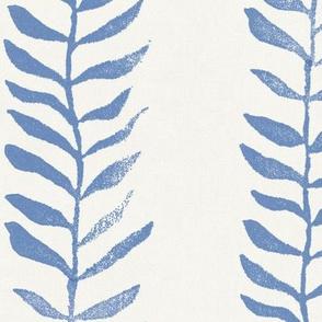 Botanical Block Print, Indigo Blue on Cream (xxl scale)   Leaf pattern fabric from original block print, natural decor, plant fabric, azure blue, off white and blue.