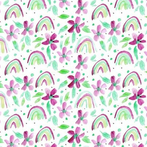 Mint and raspberry rainbows and flowers watercolor sweet design for modern nursery kids baby