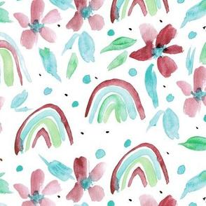 rainbows and flowers watercolor sweet design for modern nursery kids baby