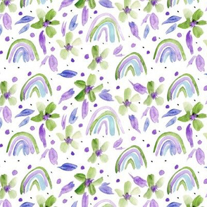 Green and purple rainbows and flowers watercolor sweet design for modern nursery kids baby a044