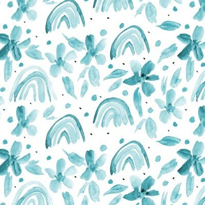 Emerald rainbows and flowers watercolor sweet design for modern nursery kids baby a044