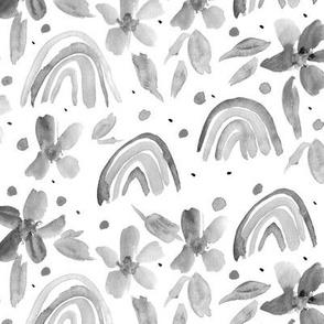 Noir rainbows and flowers - grey watercolor sweet design for modern nursery kids baby a044
