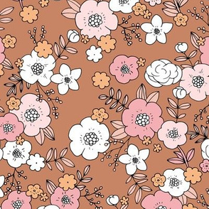 Vintage english rose garden liberty flowers and leaves boho blossom print nursery seventies retro pink burnt orange copper