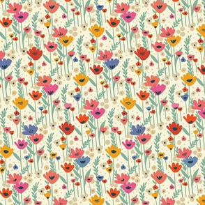 Meadow flowers - cream ( small scale )