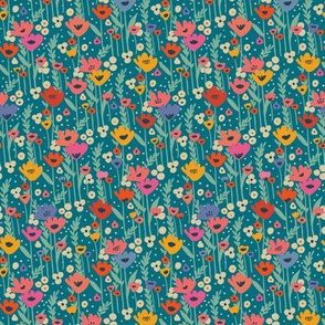Meadow Flowers  - Teal ( small scale)