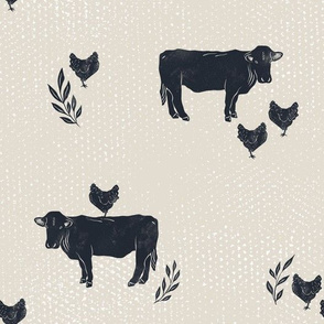 Cow and Chicken Besties - textured farm animals - navy and tan - medium scale