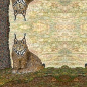 Lynx_tree hand-drawn colored pencil