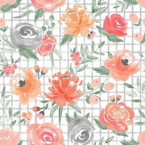 Med Scale Sunset Watercolor Floral on Gray Grid