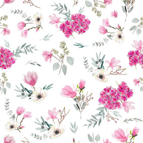Floral pattern pink and white