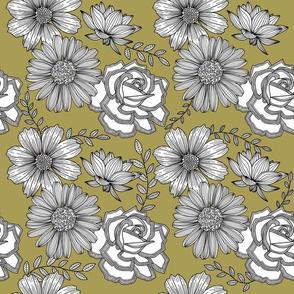 Flowers Line Art - Dark Yellow