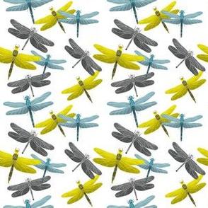 Dragonflies Pattern - Gray & Yellow Palette