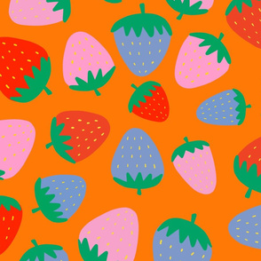 strawberries on orange