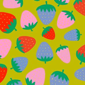 strawberries on green