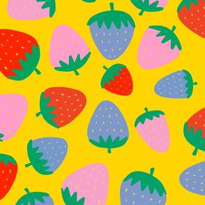 strawberries on yellow
