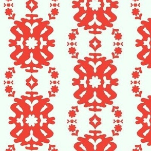 Red and White Modern Damask