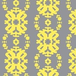 Gray and Yellow Modern Damask