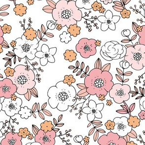 Vintage english rose garden liberty flowers and leaves boho blossom print nursery seventies retro pink peach white